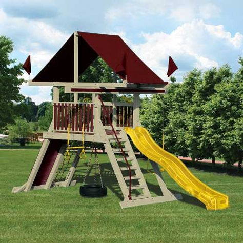 With This Swing Kingdom Vinyl Swing Set And A Little Imagination Any Child Can Conquer The World The Sk 5 Mo With Images Swing Set Backyard Structures Backyard Adventure