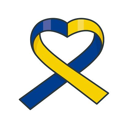 Heart Shaped Blue And Yellow Ribbon Isolated Vector Illustration For Vector Illustration Down Syndrome Awareness Awareness Ribbons