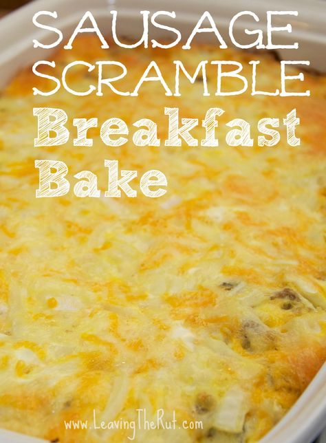 Sausage Scramble Breakfast Bake. This breakfast bake is really easy and perfect to make at the beginning of the week to reheat for a quick breakfast that is filling, and doesn't leave you hungry in a few hours. You can change it up and add cooked bacon or cooked ham but for some reason the spice in the sausage mixed with the egg and all that cheese is my favorite. This dish is easily frozen after baking and can be stored in the freezer for several months. www.leavingtherut.com