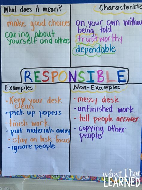A great idea to help develop life skills.  Students learn how to define the word, give characteristics, examples and non examples.  Perfect anchor chart to use for character education.