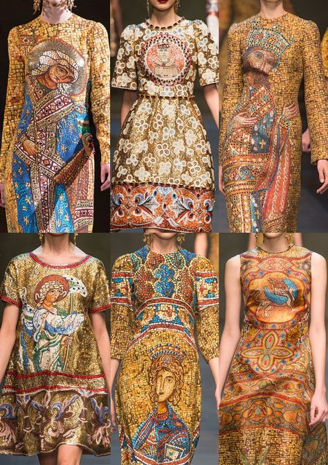 Milan Fashion Week-Dolce & Gabbana A/W Pictorial Prints – Fresco Inspirations – Over-scaled Imagery – Bejewelled Craftsmanship – Venetian and Byzantine References – Art Canvas Inspired Designs