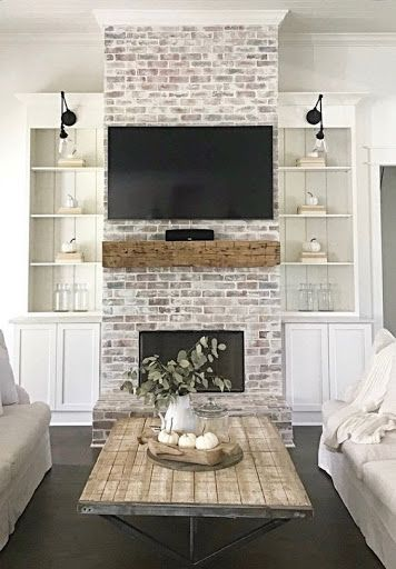 White Wash Brick Fireplace, Brick Fireplace Makeover, Farmhouse Fireplace, Home Fireplace, Living Room With Fireplace, Fireplace Design, Home Living Room, Living Room Designs, Living Room Decor