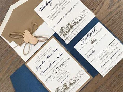 Mountain Wedding Invitation Rustic Lake