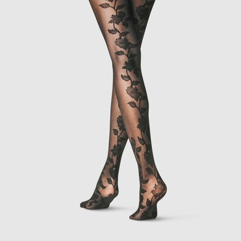 Women's Denier Opaque Tights - A New Day Black We like Bikes To Boards! Grunge Look, 90s Grunge, Grunge Girl, Floral Tights, Sheer Tights, Opaque Tights, Women's Tights, Ripped Tights, Cute Tights