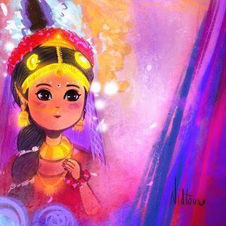 Radha Getting Ready Radhakrishn Radha Gettingready Digitalart Chibi Anime Digitaldrawing Fanarts Cute Krishna Krishna Radha Painting Art