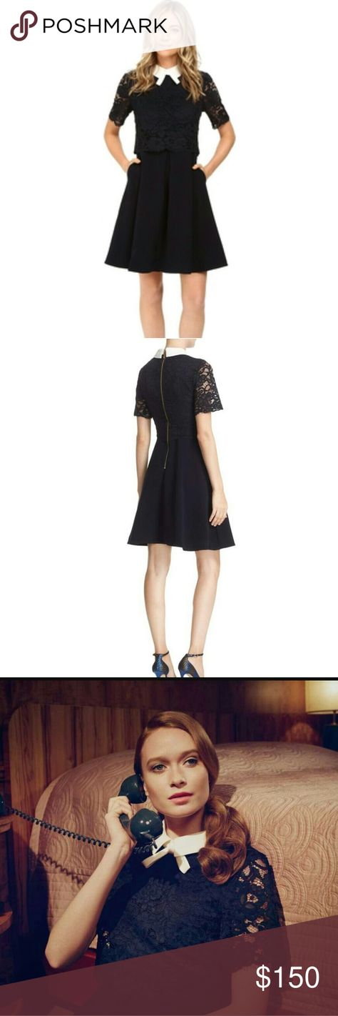 2d626723ccc348 Ted Baker London  Dixxy  Bow Lace Dress TED BAKER LONDON  Dixxy  DRESS TB  SIZE 1 NEW WITHOUT TAGS NAVIE BLUE WITH WHITE COLLAR AND BOW DETAIL.