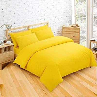 Non Iron Luxury Easycare Plain Dyed King Duvet Cover 2 Pillow Cases Bed Set Yellow Amazon Co Uk Kitchen Yellow Bedding Duvet Covers Yellow Yellow Duvet