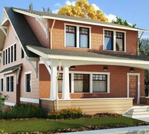 Craftsman style shed dormers home.