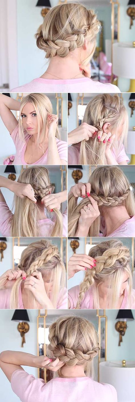 Best Cost-Free 20 Beautiful Crown Braid Hairstyles Whats the one accessory that can make you fe. Concepts 20 Beautiful Crown Braid Hairstyles Whats the one accessory that can make you feel like a Queen? Blonde Box Braids, Two Braids, Braids For Short Hair, Crown Braids, Jumbo Braids, Short Hair Crown Braid, How To Crown Braid, Braided Crown Tutorial, Dutch Braid Crown