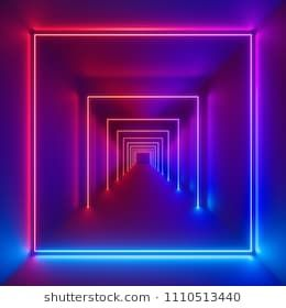 3d Render Neon Lights Laser Show Glowing Lines Virtual Reality