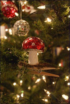 sequined mushroom ornaments