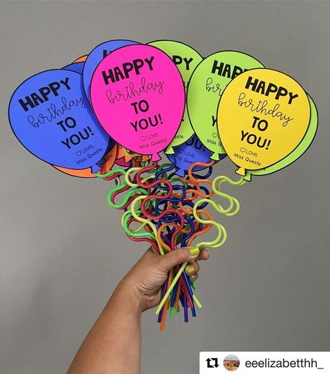The most simple, yet perfect birthday gifts for students 🎈The pack of straws are from the Dollar Store and the Balloon template can be… Student Birthdays, Student Gifts, Student Teacher, Classroom Organization, Classroom Management, Classroom Ideas, Classroom Gifts For Students, Kindergarten Classroom Decor, Classroom Rewards