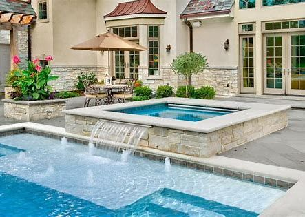 Rectangle Pool With Hot Tub Bing Images In 2020 Rectangle Swimming Pools Building A Swimming Pool Cool Swimming Pools