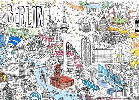 Berlin Illustrierte Karte Drucken In 2020 Berlin Karte