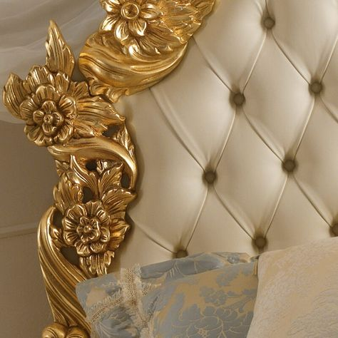 Magnificent Gold Leaf Rococo Leather Button Upholstered Bed