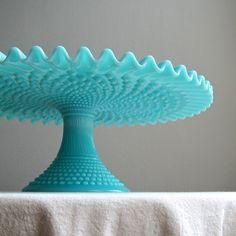 Fenton Turquoise Blue Hobnail Milk Glass Cake Stand, 1950s Wedding Cake Plate