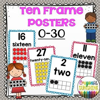 Math Ten Frame Posters 0 30 Red And Blue Ccss Poster Frame