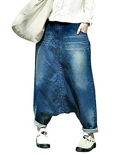 Harem Large Femmes Jeans Sarouel Pantalon Jambe 4AL35Rcjq