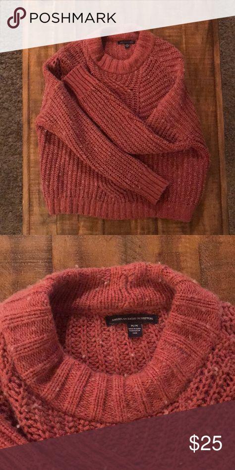 Fall sweater American Eagle coral fall sweater! American Eagle Outfitters Sweaters Crew & Scoop Necks