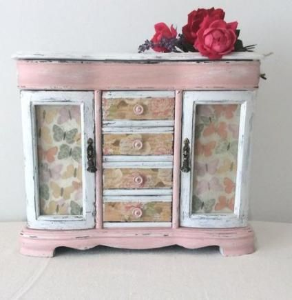 Vintage jewelry box white distressed decor storage shabby chic vanity jewelry holder case wood glass decor
