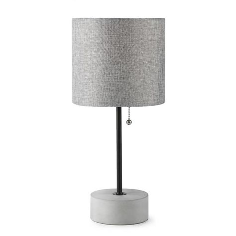 Allen Roth 16 5 In Bronze Concrete Table Lamp With Fabric Shade Bl55bz Table Lamp Fabric Shades Concrete Table