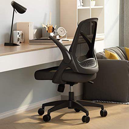 Hbada Fauteuil De Bureau Avec Accoudoirs Pliables Chaise En Maille Respirable Et Confortable Home Office Chairs Best Office Chair Best Ergonomic Office Chair