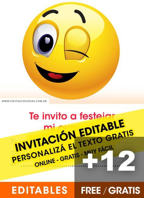 12 Invitaciones De Emojis Gratis Para Editar Personalizar