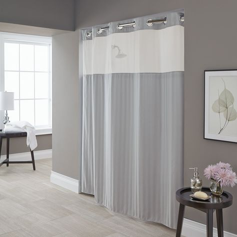 Hookless Park Avenue Strip Shower Curtain With Snap On Liner