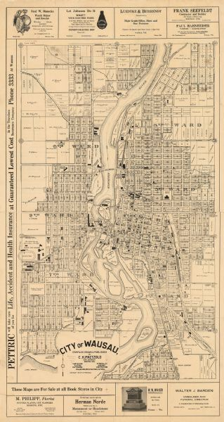 City Of Wausau Map Or Atlas Wisconsin Historical Society Maps Pinterest Historical Society Wisconsin And Historic Properties