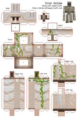 J Ossorio Papercraft Recortable De Minecraft Golen De Hierro