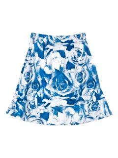 Shop Blue Rose Print Flippy Hem Skirt with Elastic Waist from choies.com .Free shipping Worldwide.