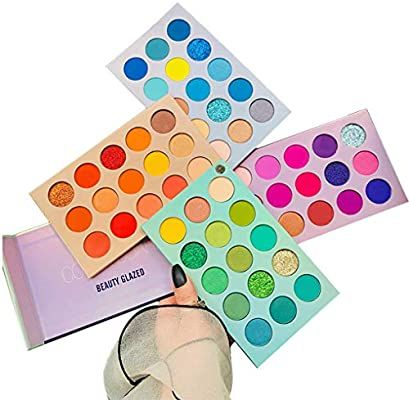 Amazon Com 60 Colors Eyeshadow Palette 4 In1 Color Board Makeup Palette Set Highly Pigmented Glitter Metallic Eyeshadow Palette Beauty Glazed Makeup Palette