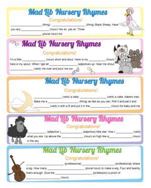 Mad Libs + nursery rhymes = fun baby shower game.