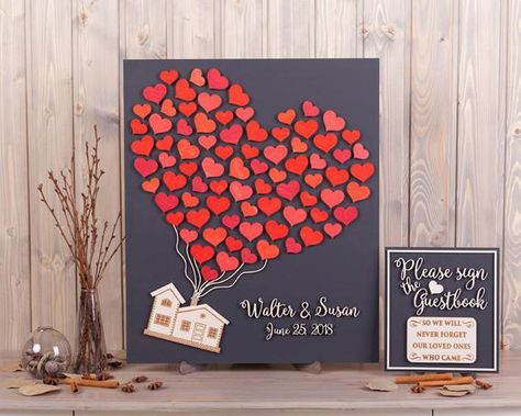 Custom wedding guest book alternative UP house movie inspired Wedding Theme 3d guestbook Rustic wedding guest book Wood wedding sign in book This 3d wedding guestbook, a beautiful guest book alternative that is fun for you and your guest. Your guests sign the hearts and then you can actually put