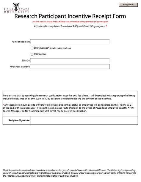 Printable Participant Incentive Receipt Form - http - employment request form