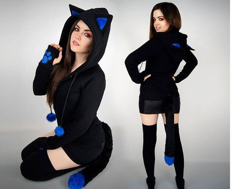 Black Cat hoodie tail ears blue animal kitty paws pompoms nerd kawaii anime petplay #CatEars