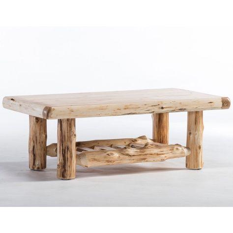 Cedar Lake Solid Wood Log Coffee Table Rustic