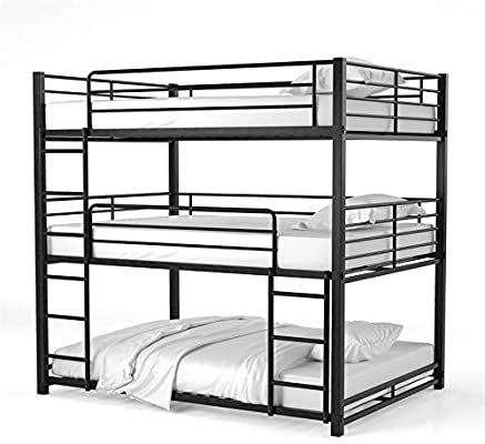 Amazon Com Furniture Of America Botany Metal Queen Triple Bunk Bed In Sand Black Kitchen Dining Metal Bunk Beds Bunk Beds Queen Bunk Beds