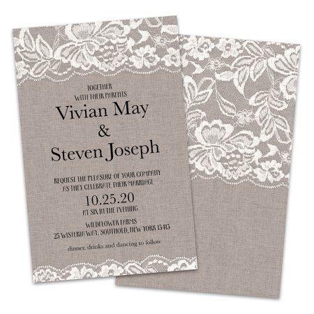 Personalized Burlap And Lace Wedding Invitations Walmart Com Cheap Wedding Invitations Printable Wedding Invitations Vintage Engagement Party Invitations