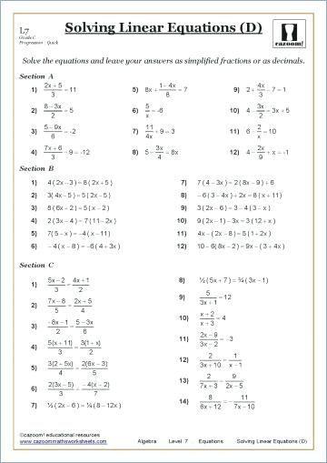 Algebra Worksheets Grade 9 In 2020 Math Worksheets Solving Linear Equations Algebra Worksheets