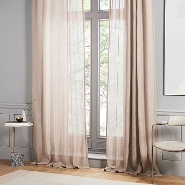 Sheer Belgian Flax Linen Curtain Dusty Blush Linen Curtains