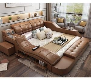 32 Modern Leather Bed With Box Function Bedroom Leather Bed