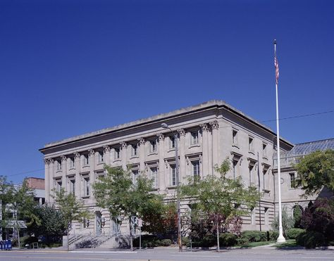 """Missoula Courthouse & Post Office: Classical architecture provided the symbolic appearance of federal authority in those communities that were becoming commercial or governmental centers in the early 1900's.  As the building neared completion in 1912, an article in the Daily Missoulian newspaper was cited as having read, """"A handsome structure, an ornament to the city."""""""
