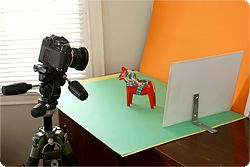DIY home studio. I have a similar setup(but with a soft secondary light). I take all the pictures for my books myself.