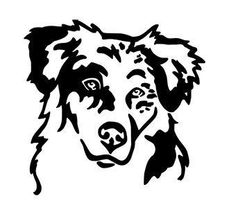 Australian Shepherd Kopf Wandtattoo Pfoetchenshop24 Dog