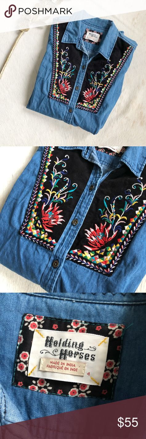 513e3561ac5 Holding Horses Murelet Embroidered Chambray Tunic Brand new, without tags Anthropologie  Holding Horses Murelet Chambray