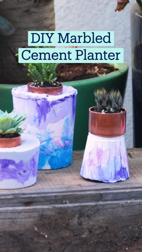 DIY Marbled Cement Planter