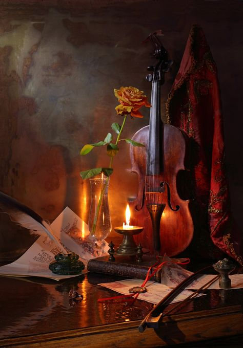 Still life with violin, candle and rose - null