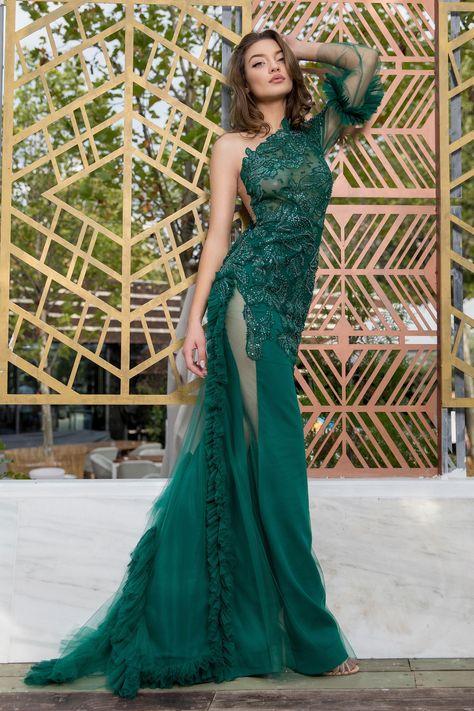 Cristallini - SKA 877 Asymmetrical Embroidered Mermaid Dress
