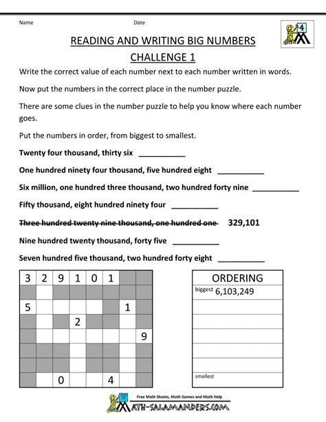 Reading And Writing Large Numbers Worksheets Post Date 29 Dec 2018 78 Source Https W 4th Grade Math Worksheets 4th Grade Math Writing Worksheets Reading and writing numbers worksheets